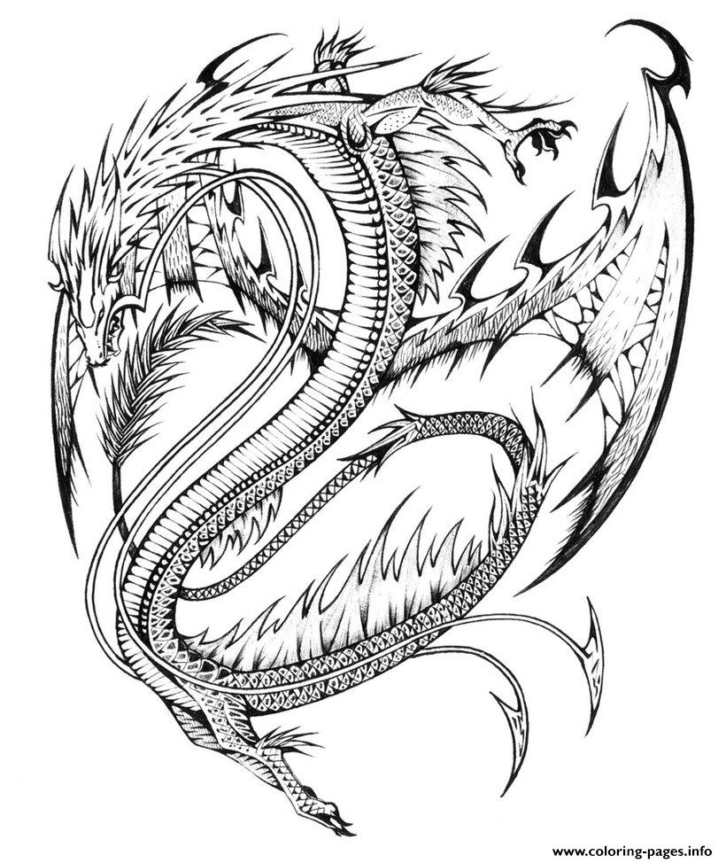 Adults Difficult Dragons Coloring Pages Printable Collection – Free ...