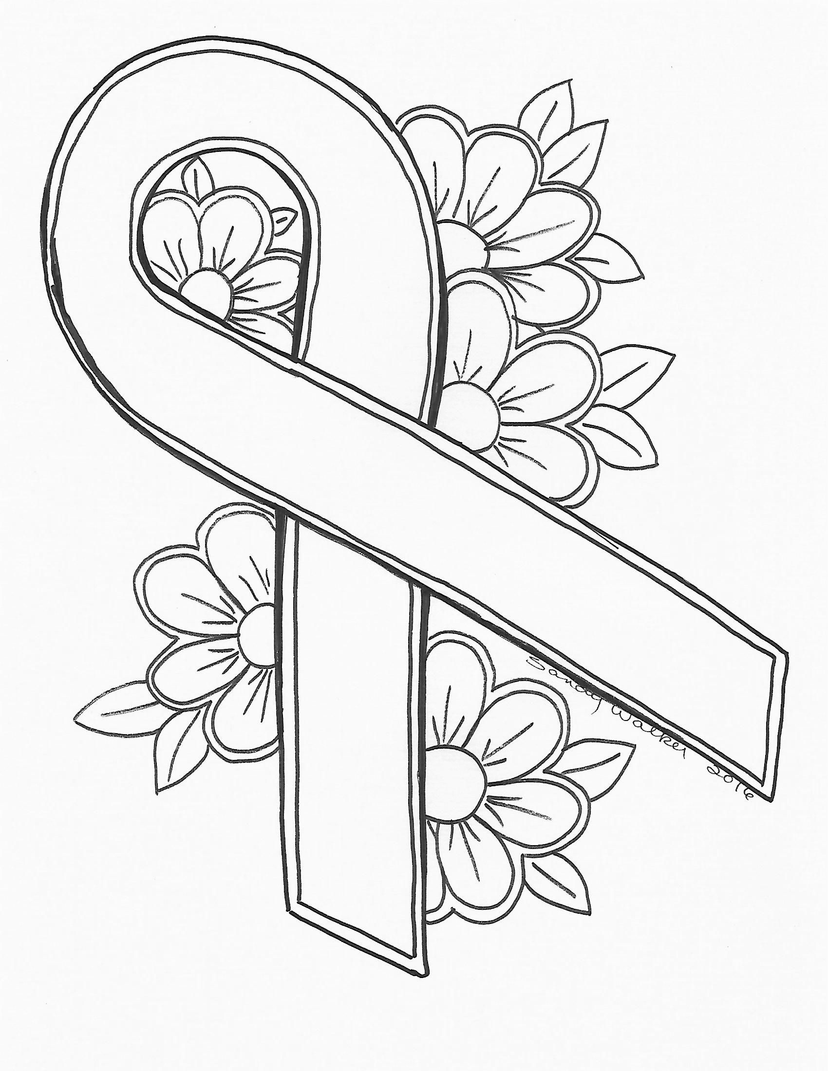 An original by Sandra Walker 2016 Ribbon for Cancer Color It Any Printable Of Cutting Files for You Symbols for the Love Of Glass to Print