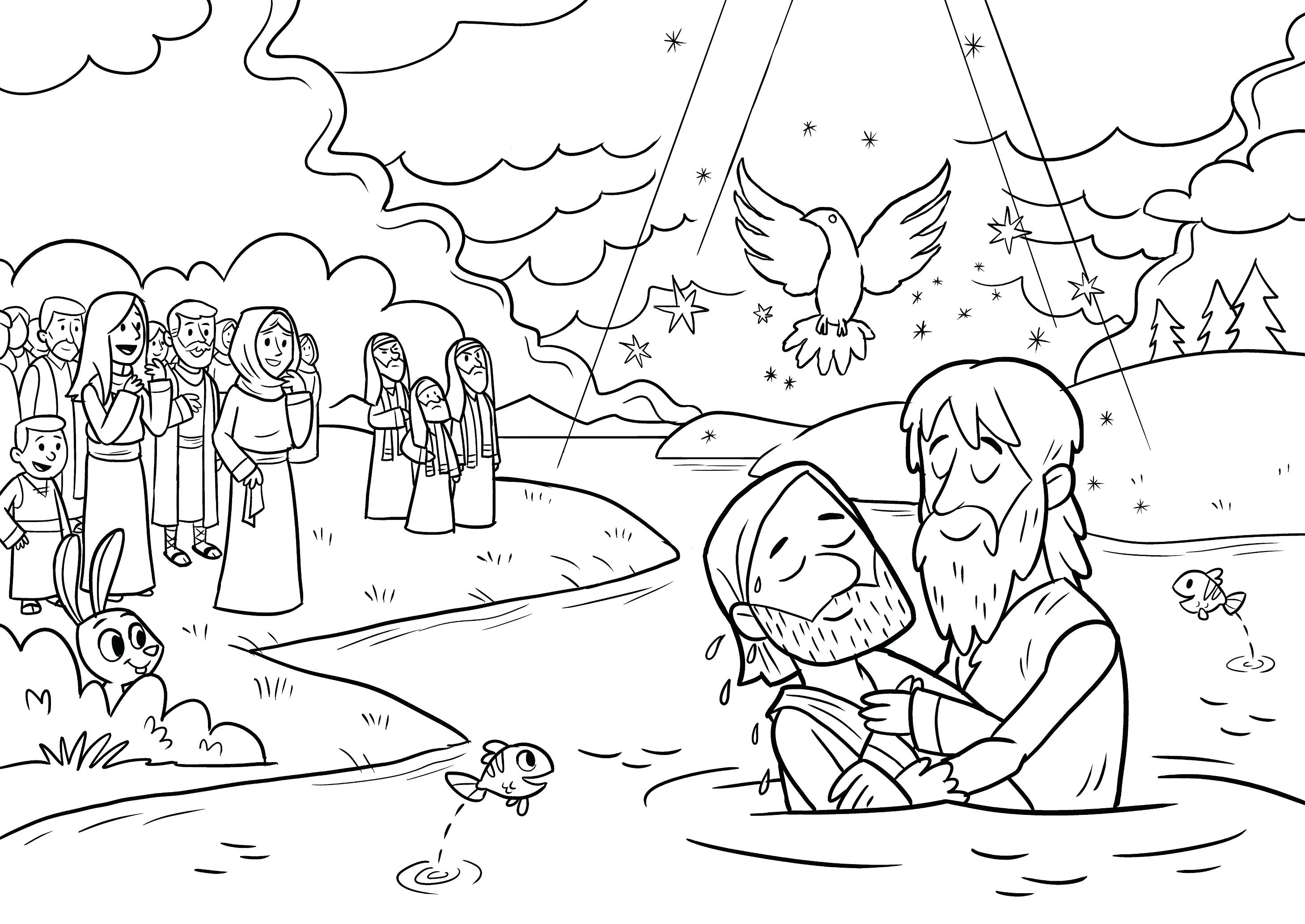 Baptism Coloring Pages Jesus Page with Gallery – Free Coloring Sheets