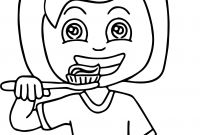 Teeth Coloring Pages - Dental Girl Brushed tooth Coloring Page Download