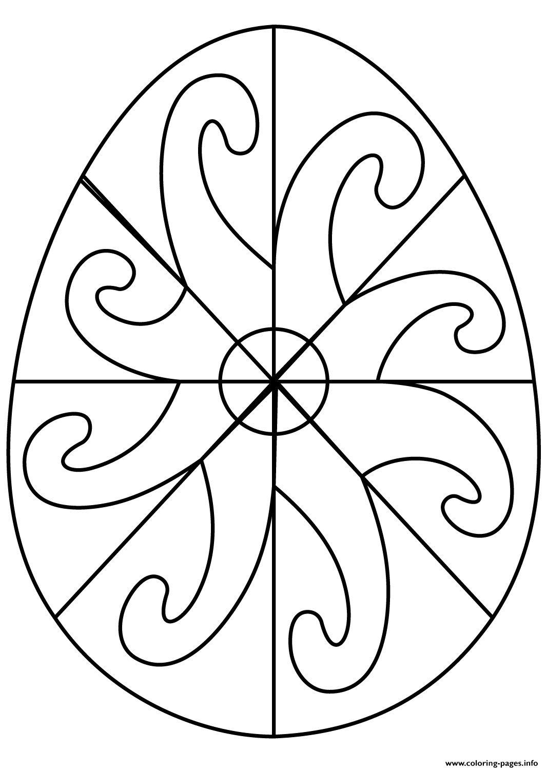 Easter Egg with Spiral Pattern Coloring Pages Printable Gallery Of Easter Coloring14 Gallery