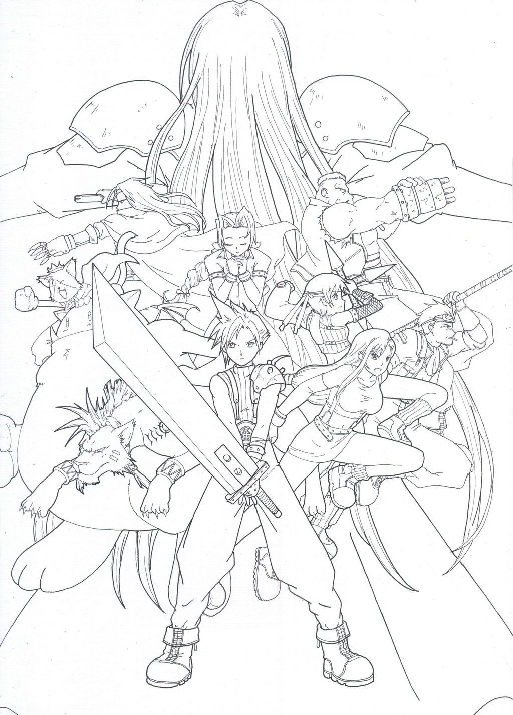 Final Fantasy 7 Fan Art Coloring Pages and Printables Download Of Sephiroth Line by Skylewolf 900—1273 Collection