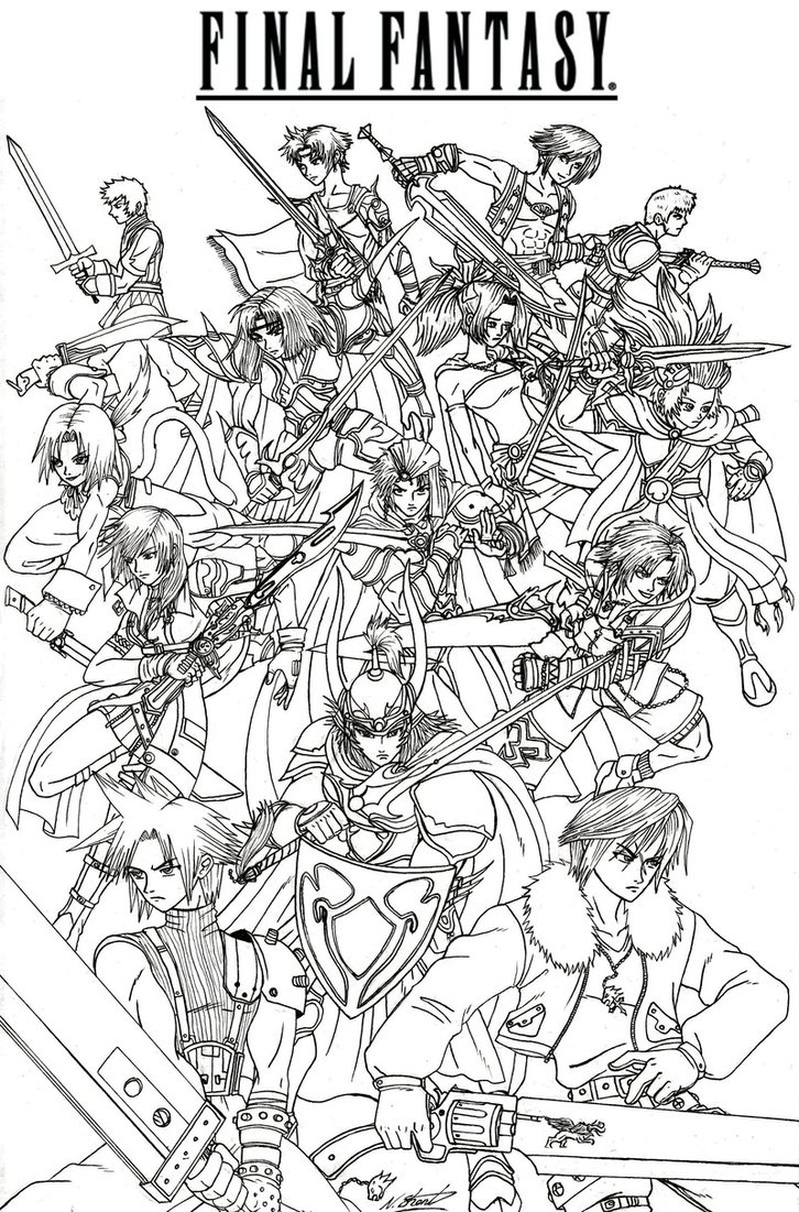 Final Fantasy Coloring Pages for Adults Collection Collection Of Final Fantasy 7 Fan Art Coloring Pages and Printables Download
