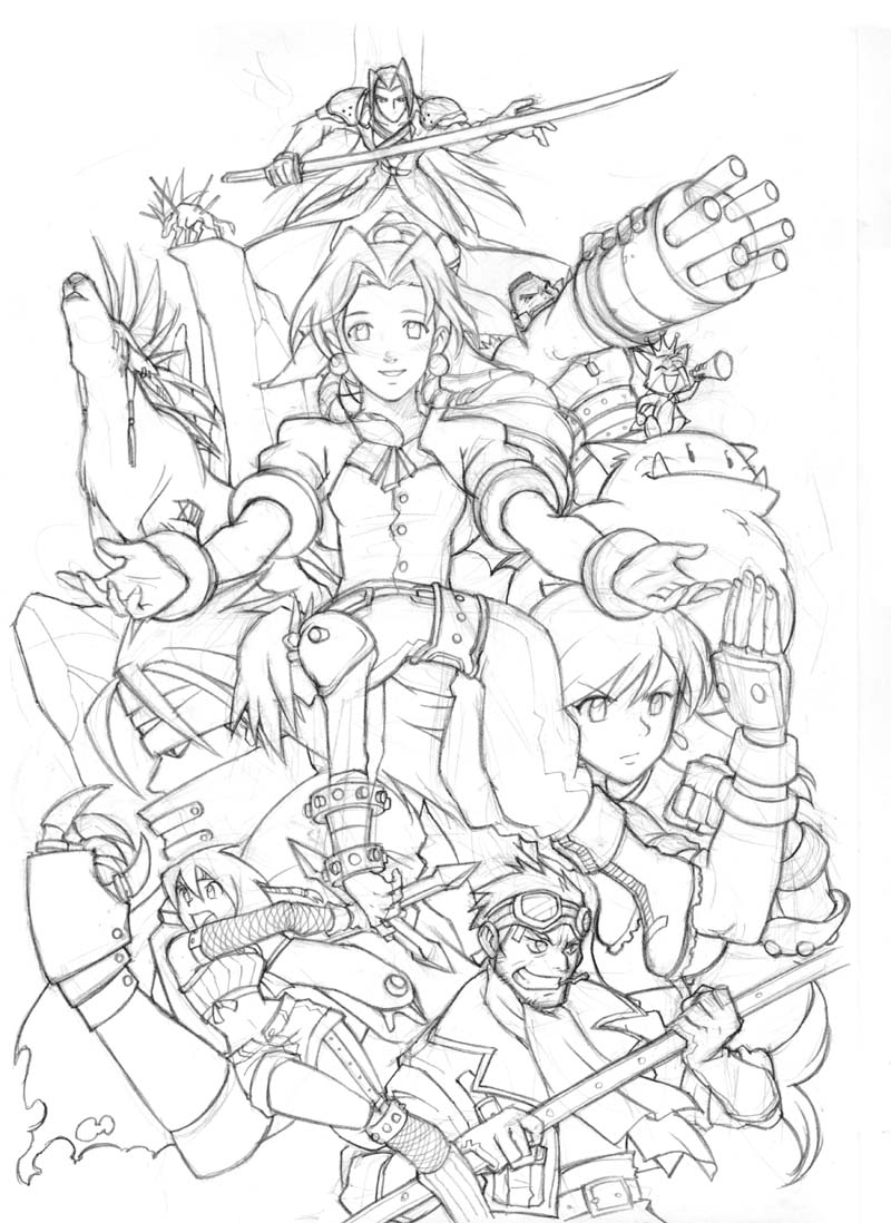 Final Fantasy Vii Team Artes Para Colorir Pinterest Gallery Of Final Fantasy 7 Fan Art Coloring Pages and Printables Download