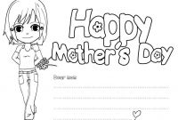 Mothers Day Coloring Pages for Preschool - Free Kindergarten Mothers Day Coloring Pages Happy Collection