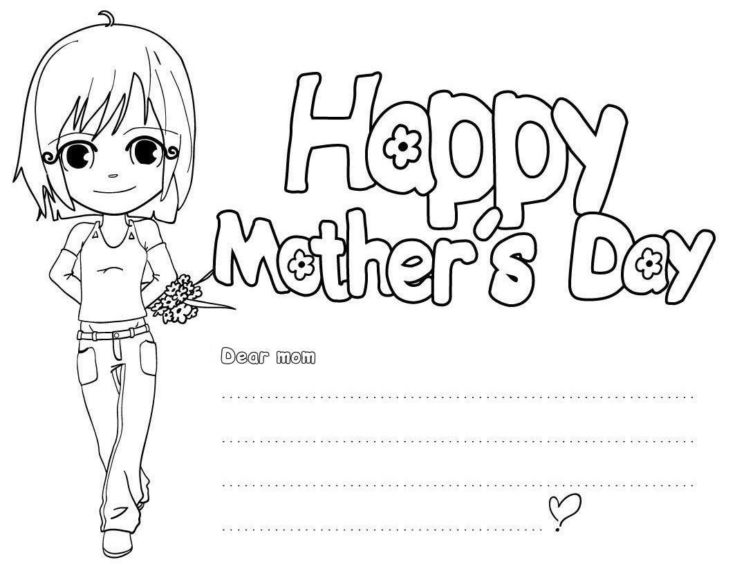 Free Kindergarten Mothers Day Coloring Pages Happy Collection – Free ...