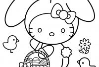 Online Easter Coloring Pages - Hello Kitty Happy Easter Coloring Page Printable