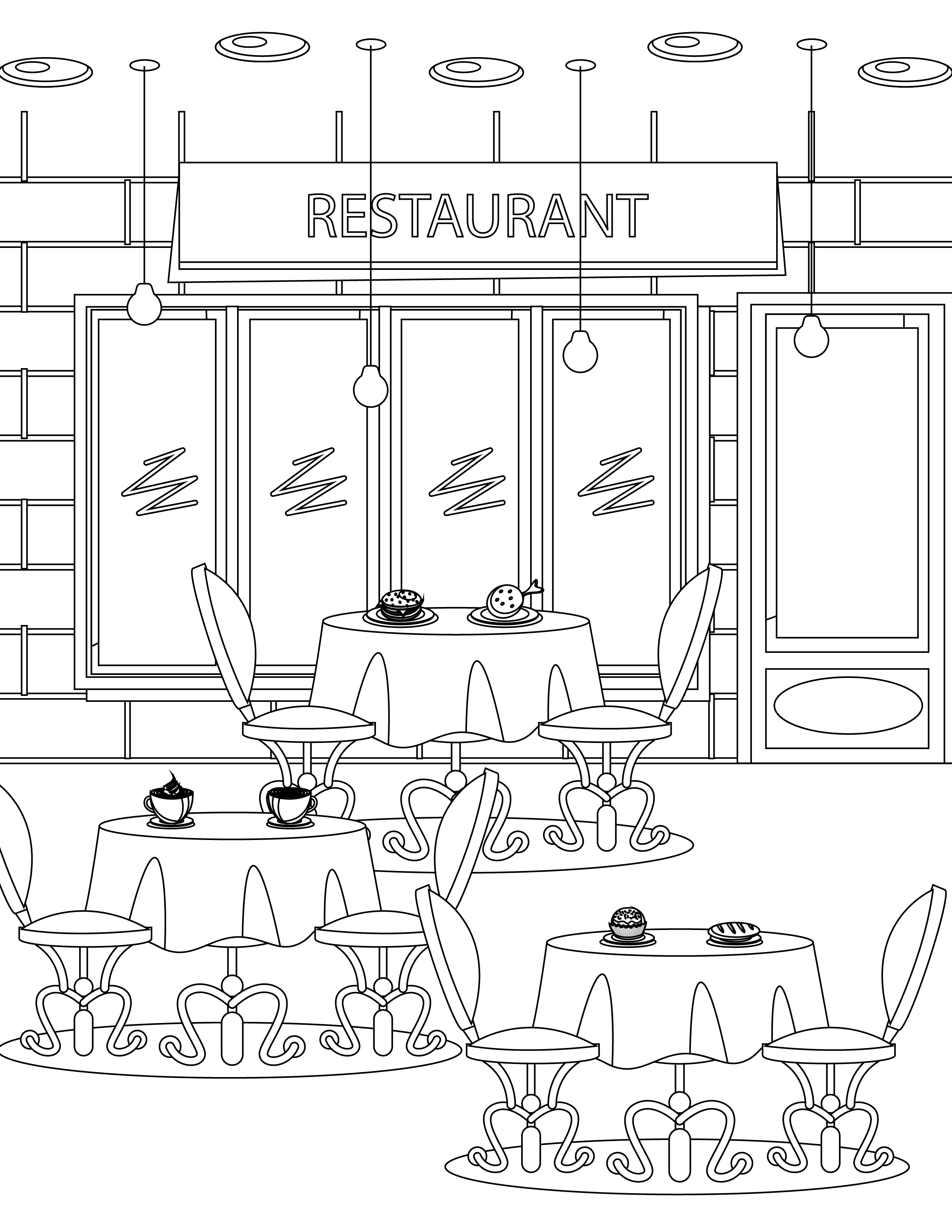 Imprimer Coloriage tous Au Restaurant 2016 to Print Of Coloring Pages for Restaurants to Print Collection