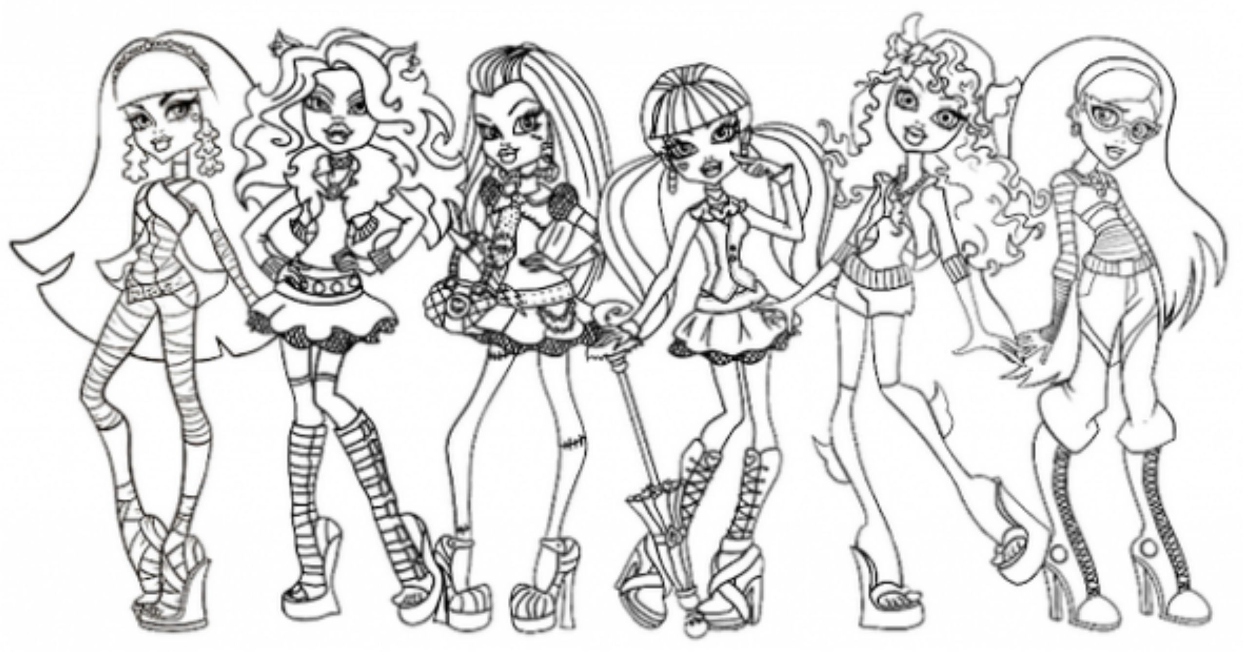Monster High Coloring Page All Characters Printable Monster High Download Of Monster High Coloring Pages Monster High Coloring Page All Collection