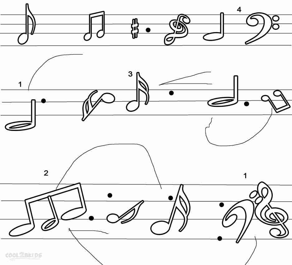Music Notes Coloring Pages Preschoolers to Print 8o - To print for your project