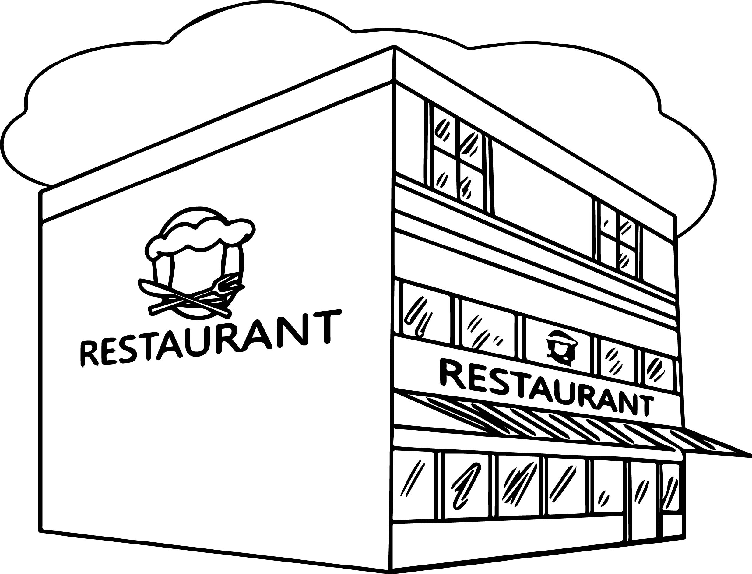 Restaurant Building Great Restaurant Coloring Page Wecoloringpage Printable Of Imprimer Coloriage tous Au Restaurant 2016 to Print