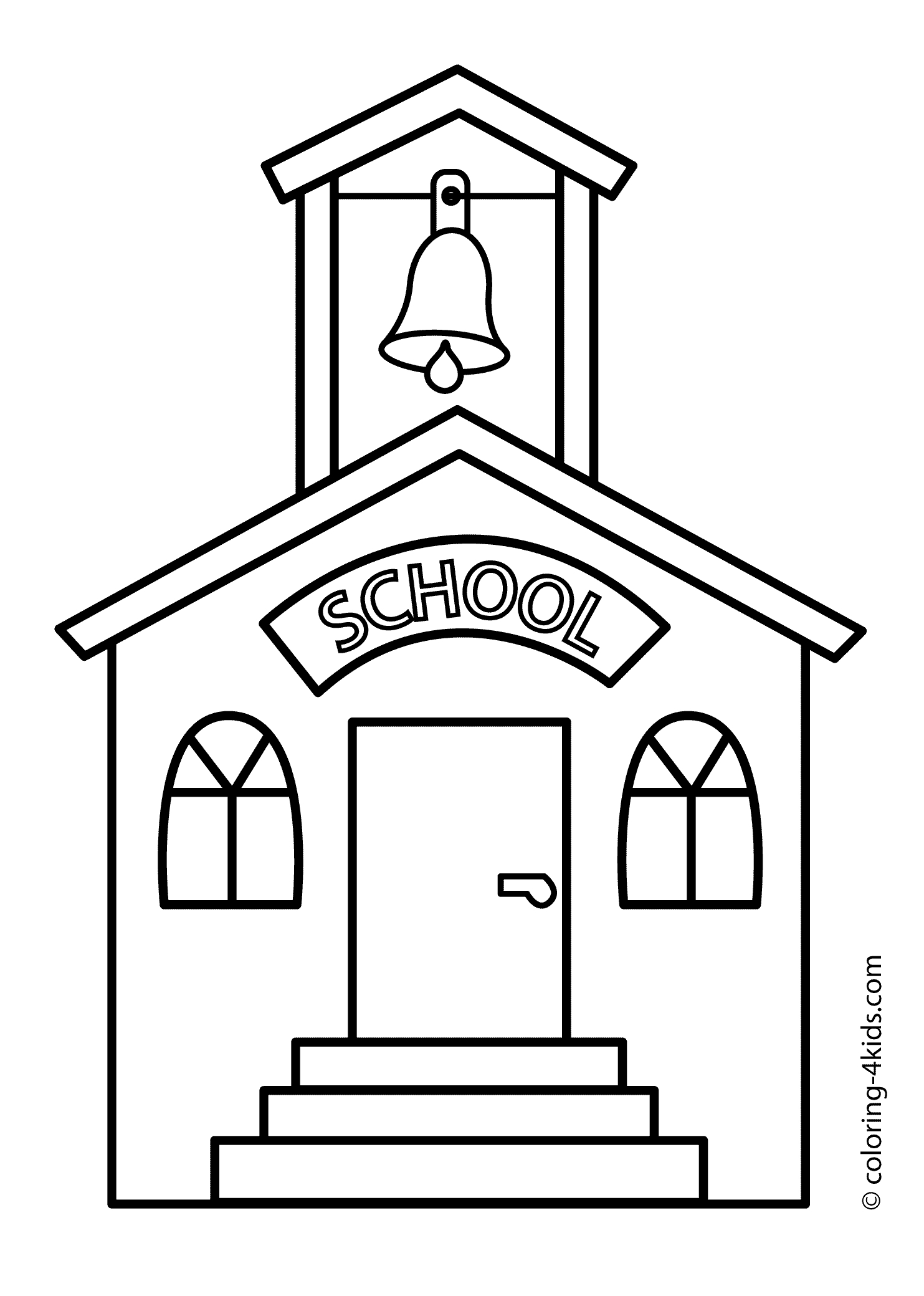 School House Coloring Pages Printable 5q - Free For kids