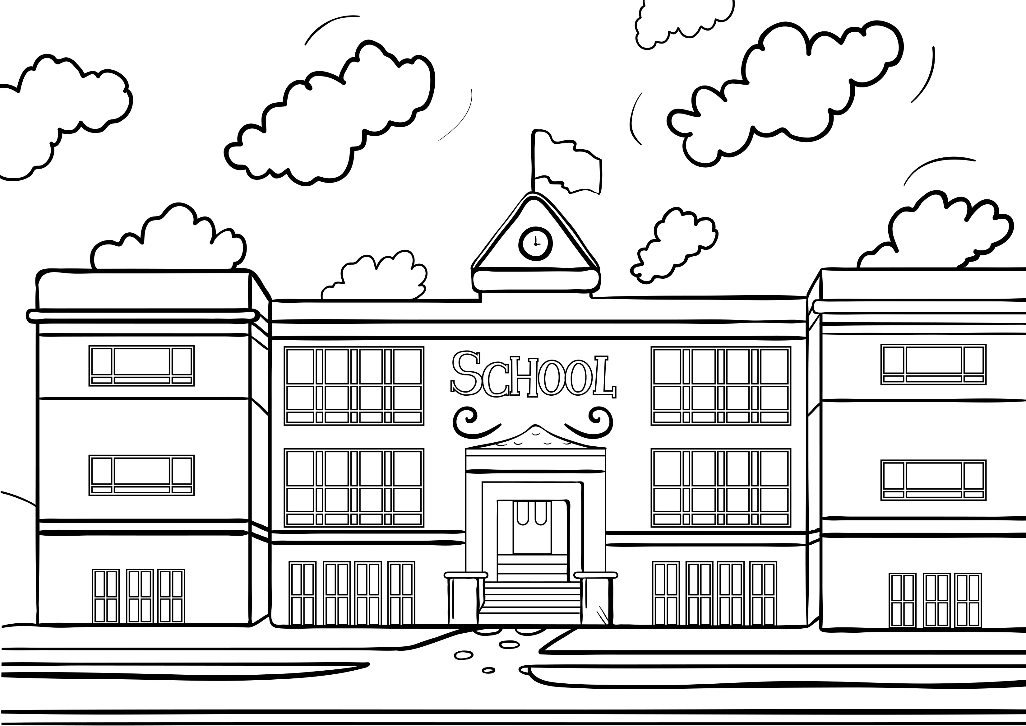School House Coloring Pages Printable 17h - Free For Children
