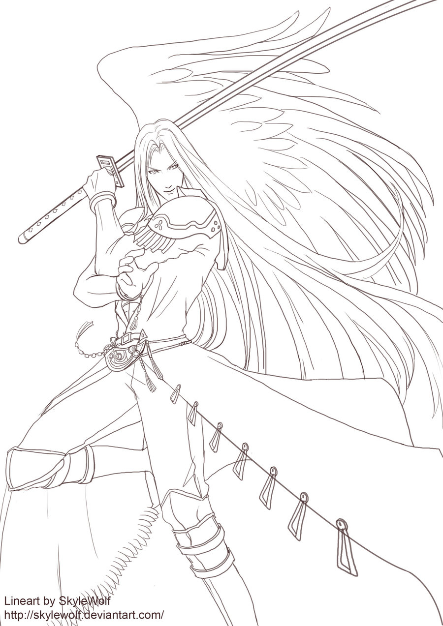 Sephiroth Line by Skylewolf 900—1273 Collection Of Final Fantasy 7 Fan Art Coloring Pages and Printables Download