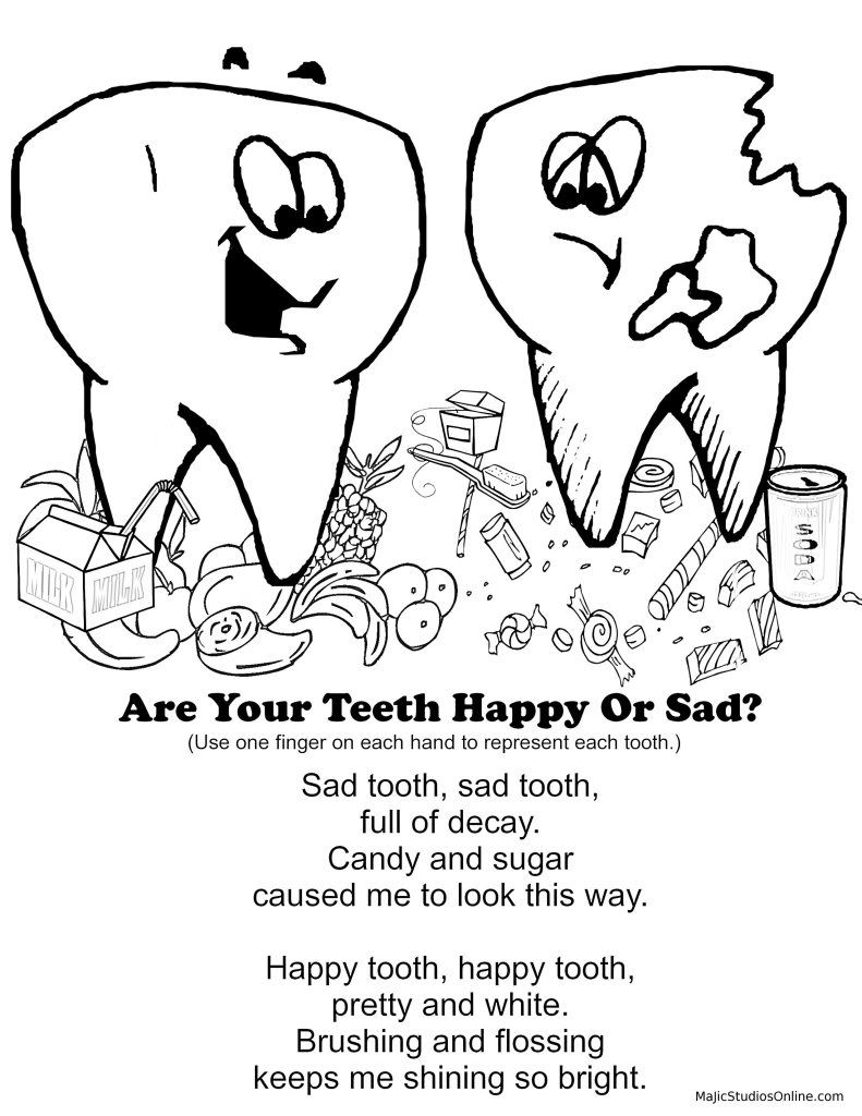 Teeth Coloring Pages Happy tooth & Sad tooth Fingerplay Download ...
