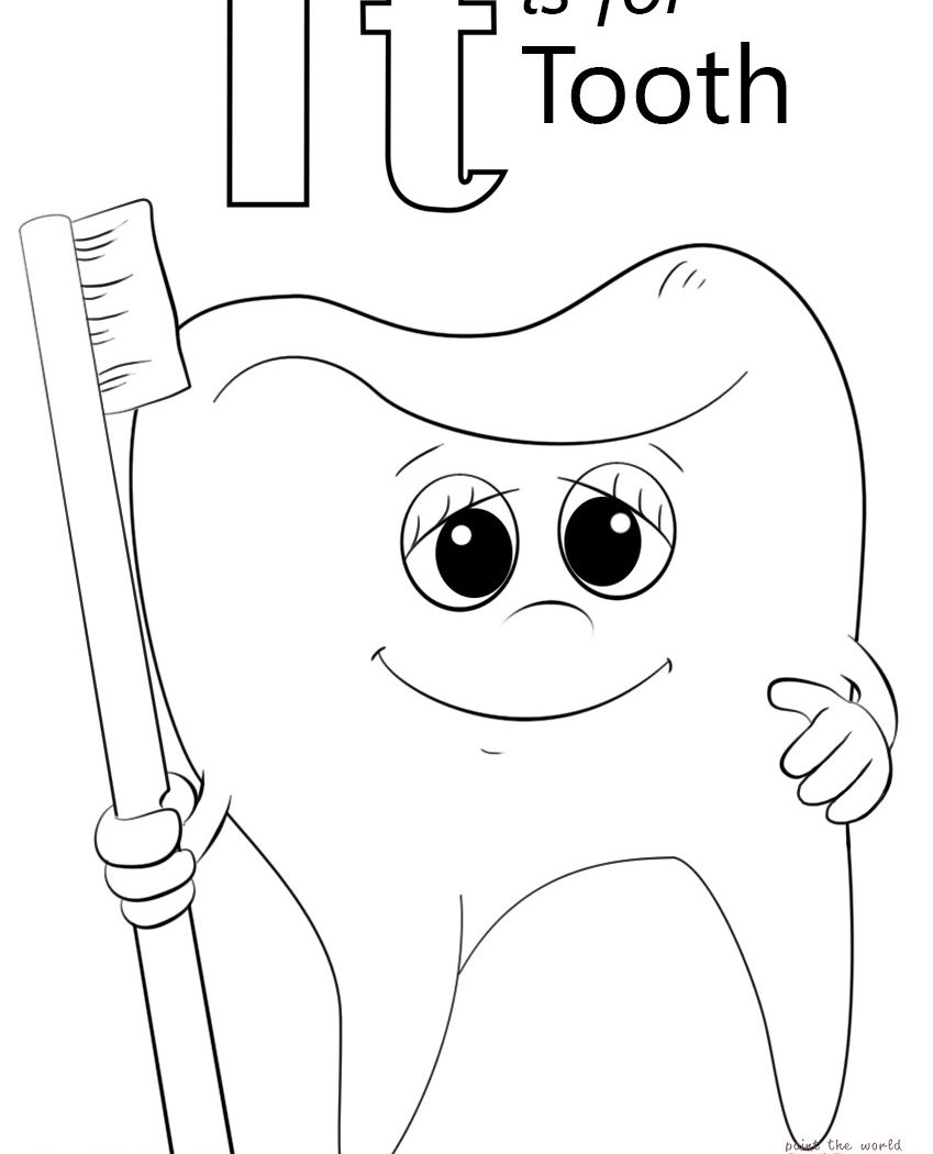 Coloring Page Teeth Coloring Page Dentist Pages New Ape Brush My ...