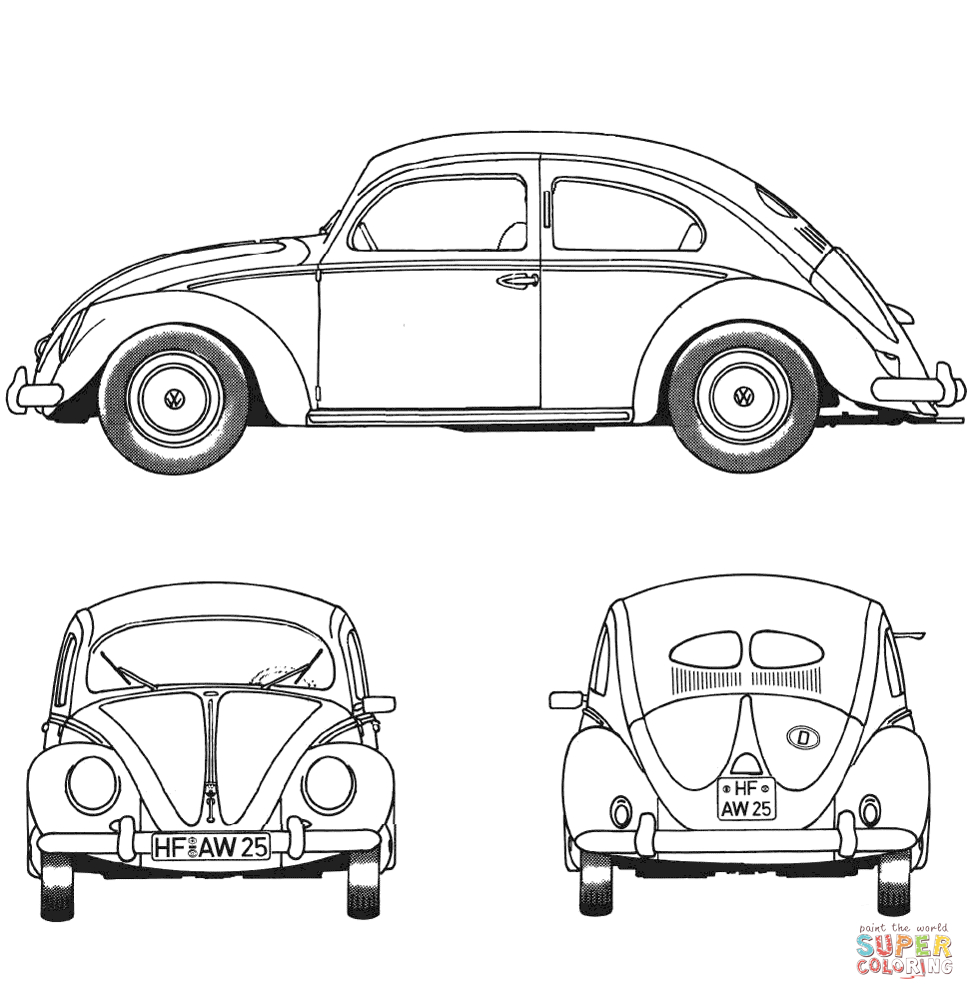 Volkswagen Beetle Coloring Pages to Print 3o - Free For kids