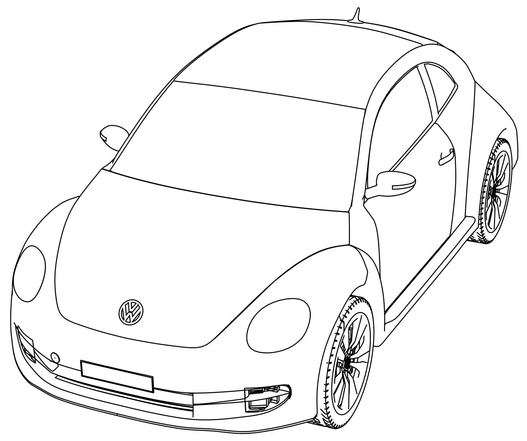 volkswagen beetle coloring pages to print