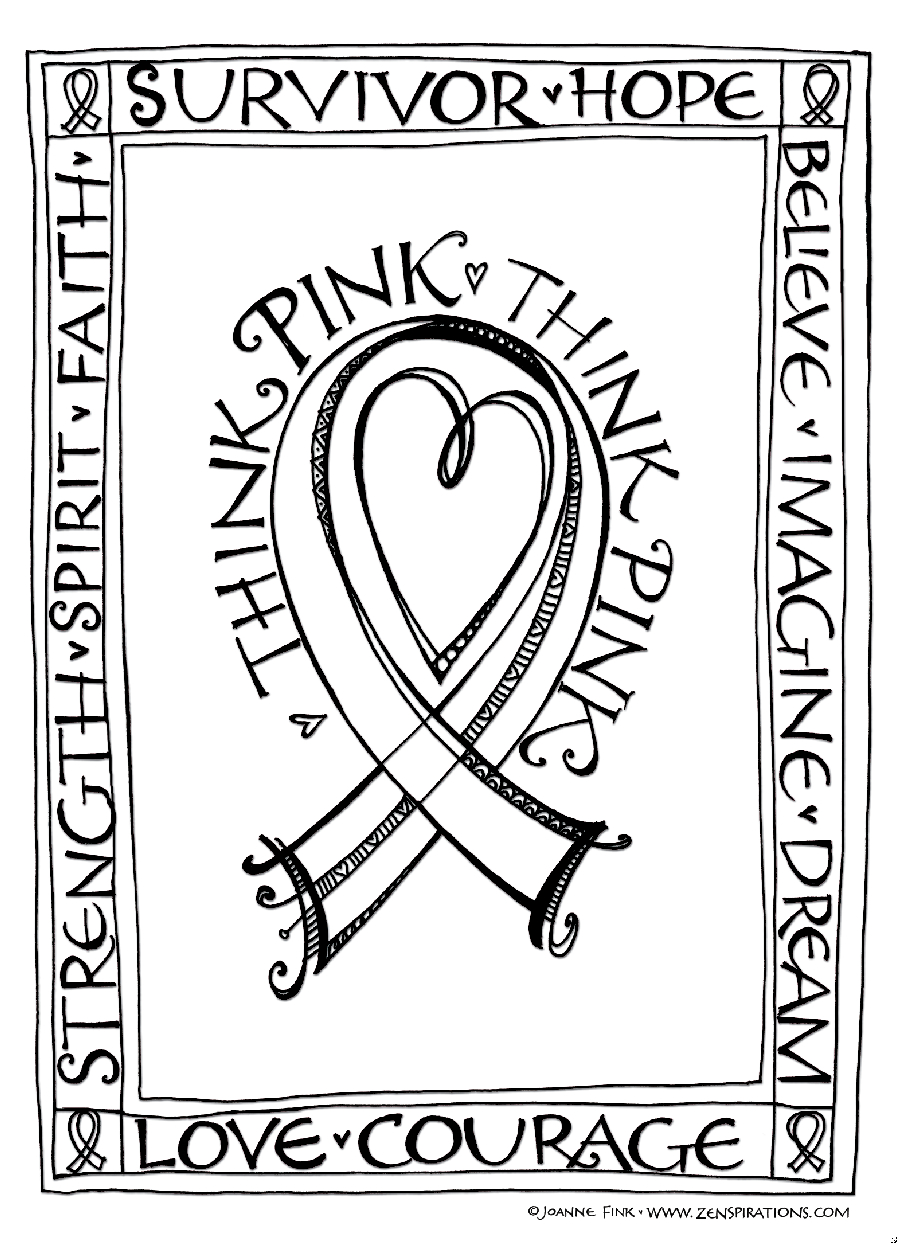 Zenspirations Blog Think Pink Free Downloadable Coloring & Card Printable Of Cancer Ribbon Drawing at Getdrawings to Print