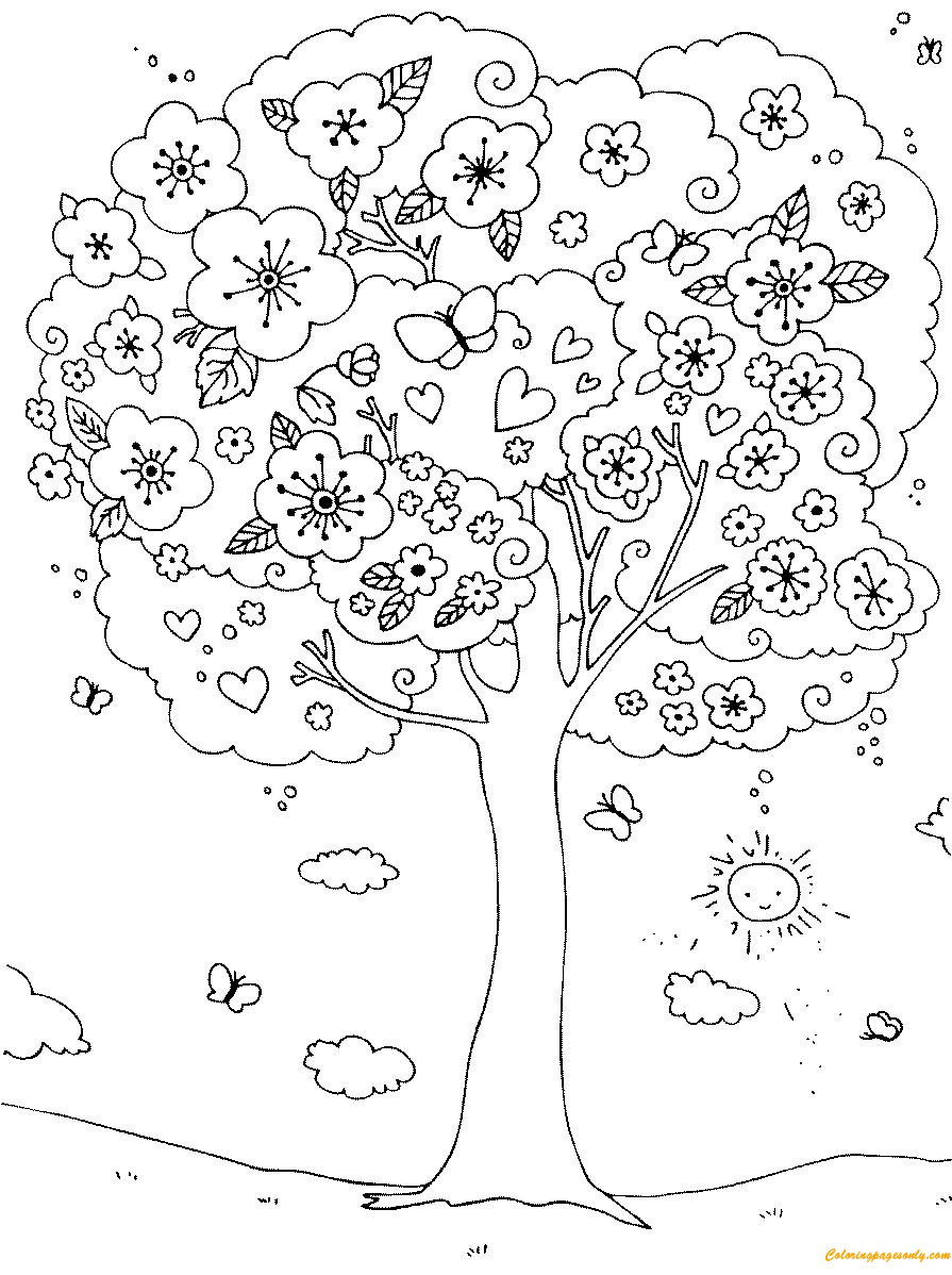 A Nice Blossoming Tree Coloring Page Coloring Pages for Kids and Gallery Of Noted Coloring Picture A Tree Pages Unknown Resolutions Printable