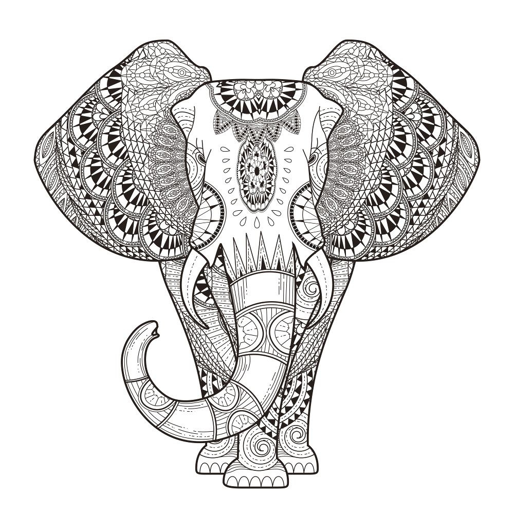 Elephants Coloring Pages for Adults to Print – Free Coloring Sheets