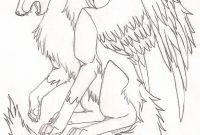 Wolf Coloring Pages Printable - Anime Wolf with Wings Coloring Pages Printable Collection