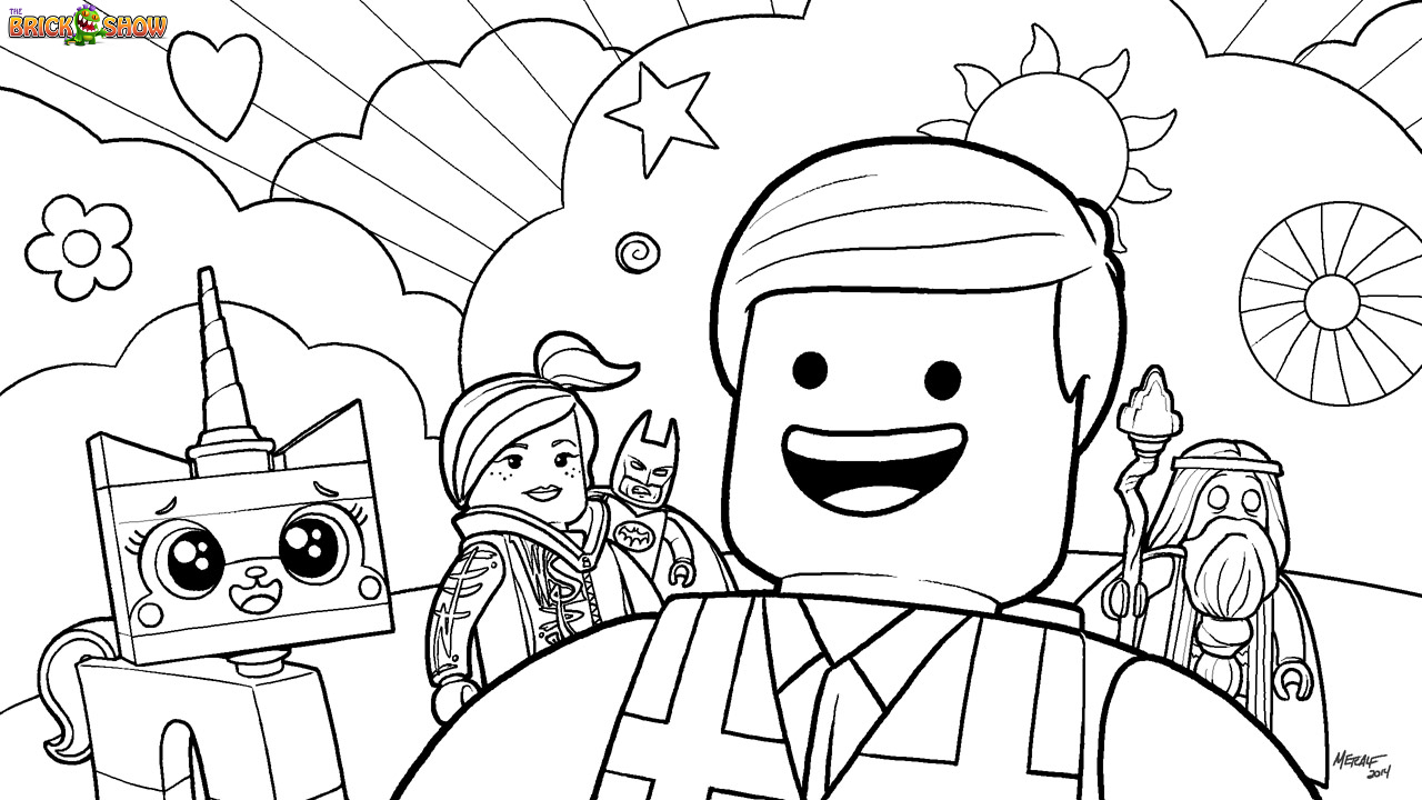 Coloring Page Of the Lego Movie Cast Including Emmet Wyldestyle ...