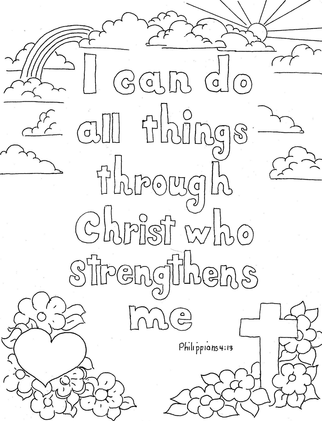 Coloring Pages for Kids by Mr Adron Philippians 4 13 Print and Collection Of Free Printable Adult Coloring Pages Hymns & Scripture Our Printable