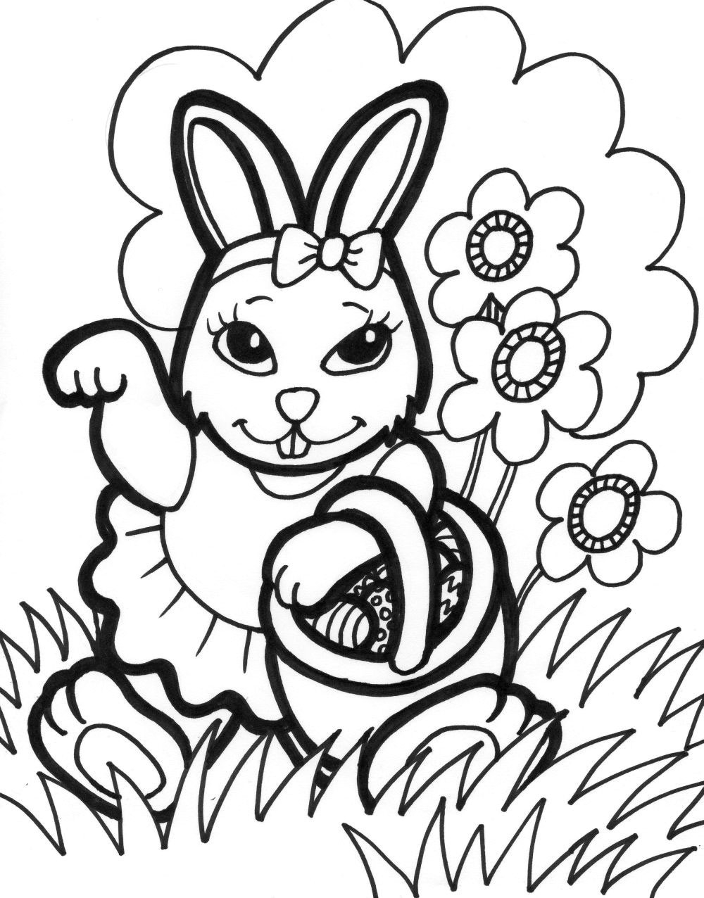 Easter Beautiful Bunny Girl Free Coloring Page Animals for Alluring Download Of Remarkable Realistic Bunny Coloring Pages Rabb Unknown Download