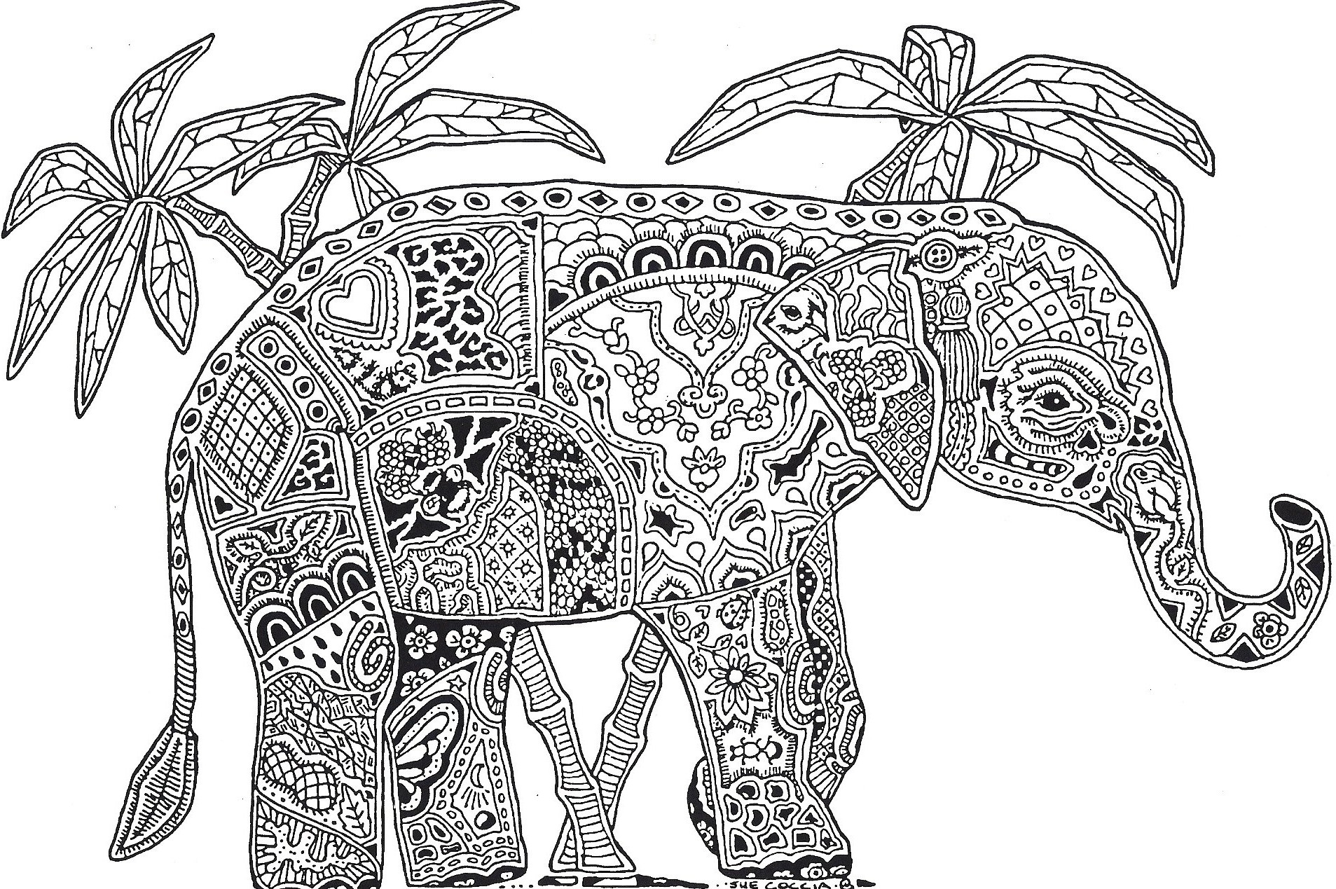 Elephant Mandala Coloring Pages Collection 15n - Save it to your computer