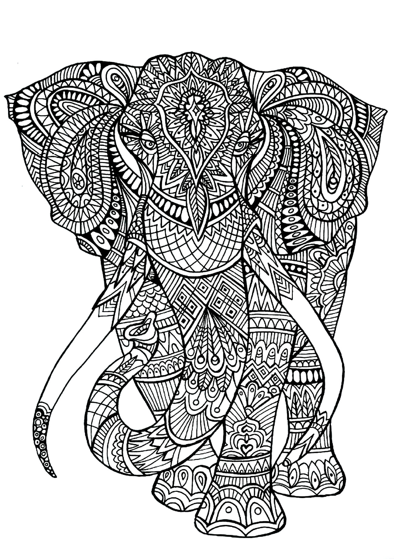 Elephant Mandala Coloring Pages Printable Printable – Free Coloring ...