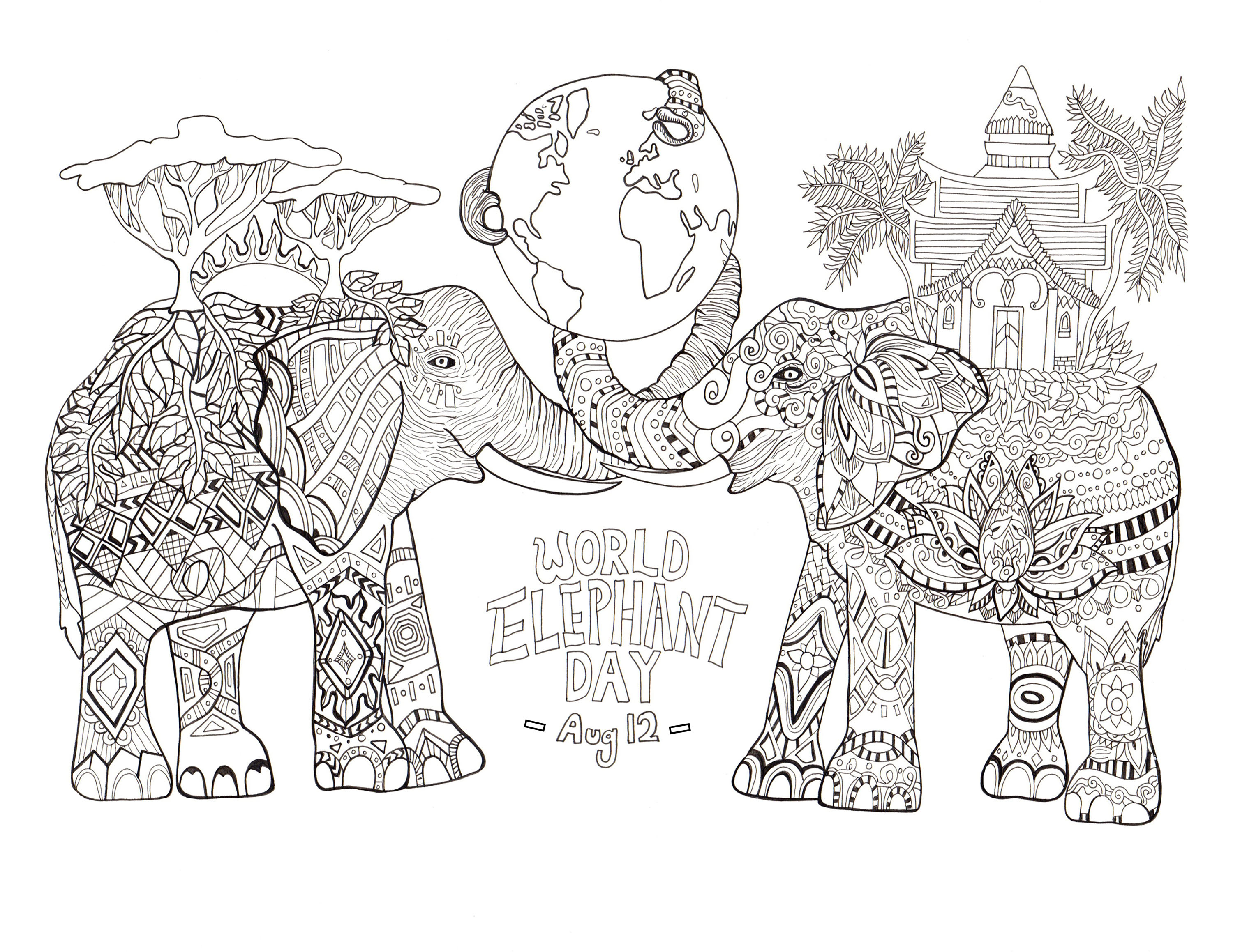 Elephants Coloring Pages For Adults To Print