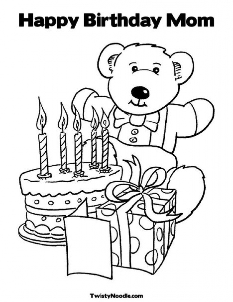 Happy Birthday Mommy Coloring Pages to Print 1k - Free For Children