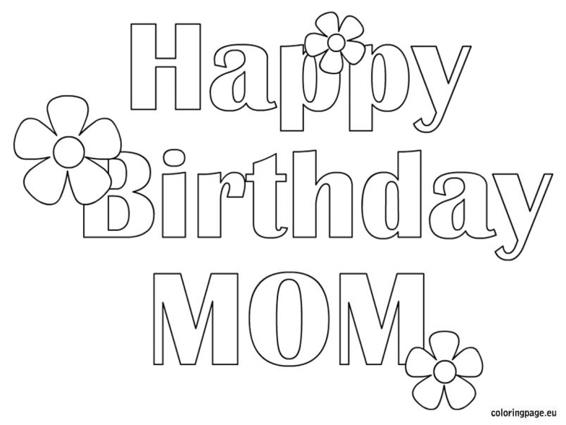 Happy Birthday Mommy Coloring Pages to Print 3l - Free For kids