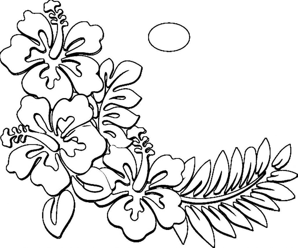 Coloring Pages Hawaiian Flowers Collection 10q - Free For kids