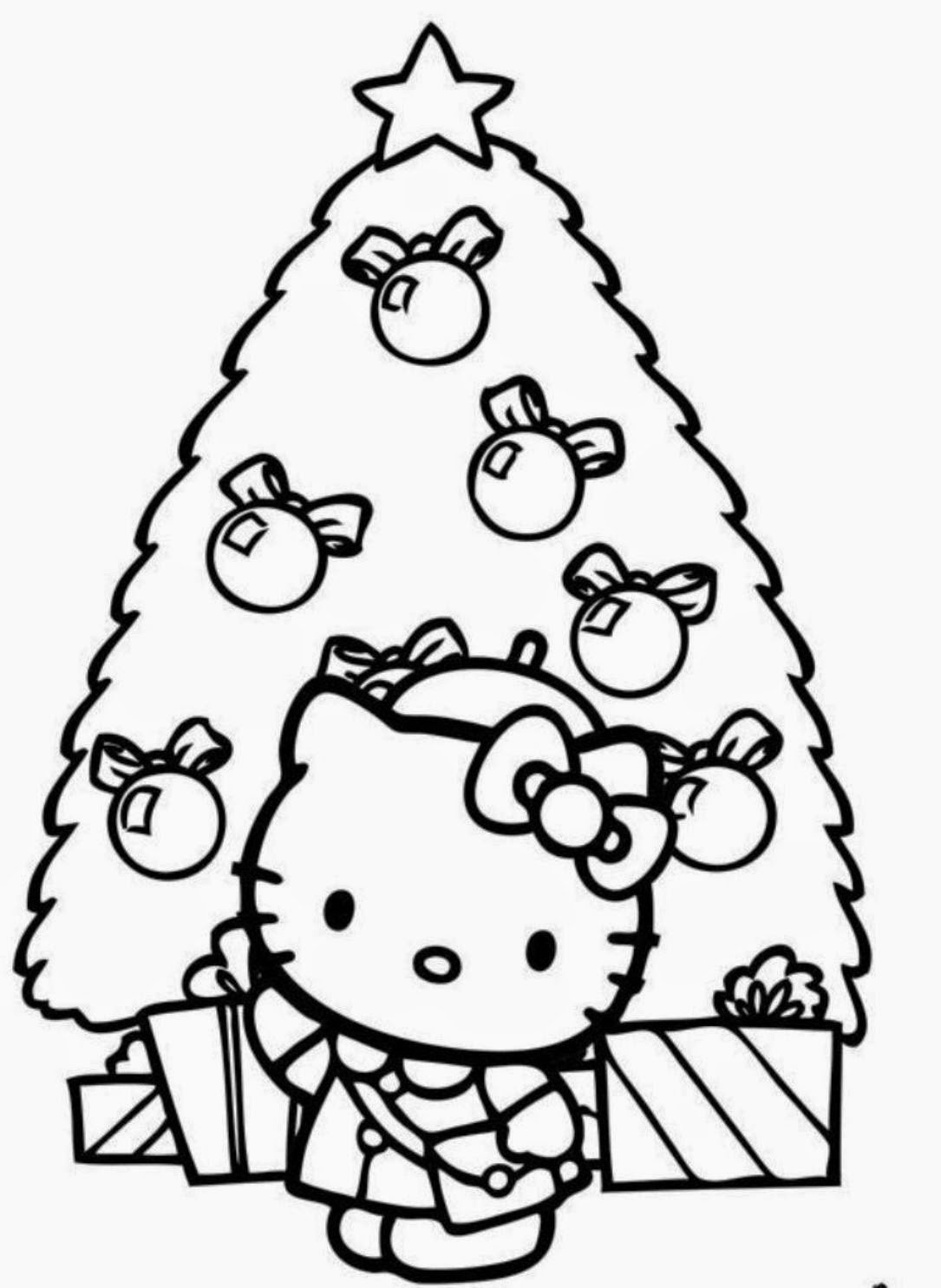hello kitty christmas coloring page free printable