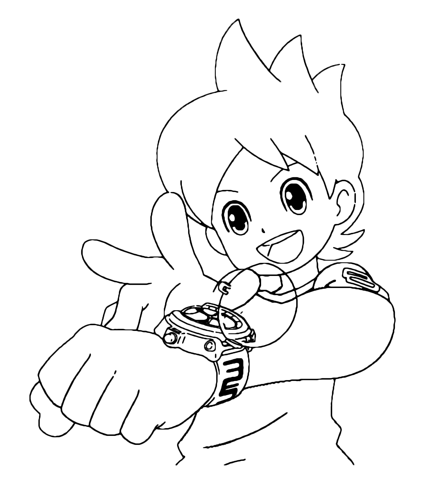 Kai Watch Nate is About to Activate the Yo Kai Watch Printable Of Yo Kai Watch Coloring Pages to Print to Print