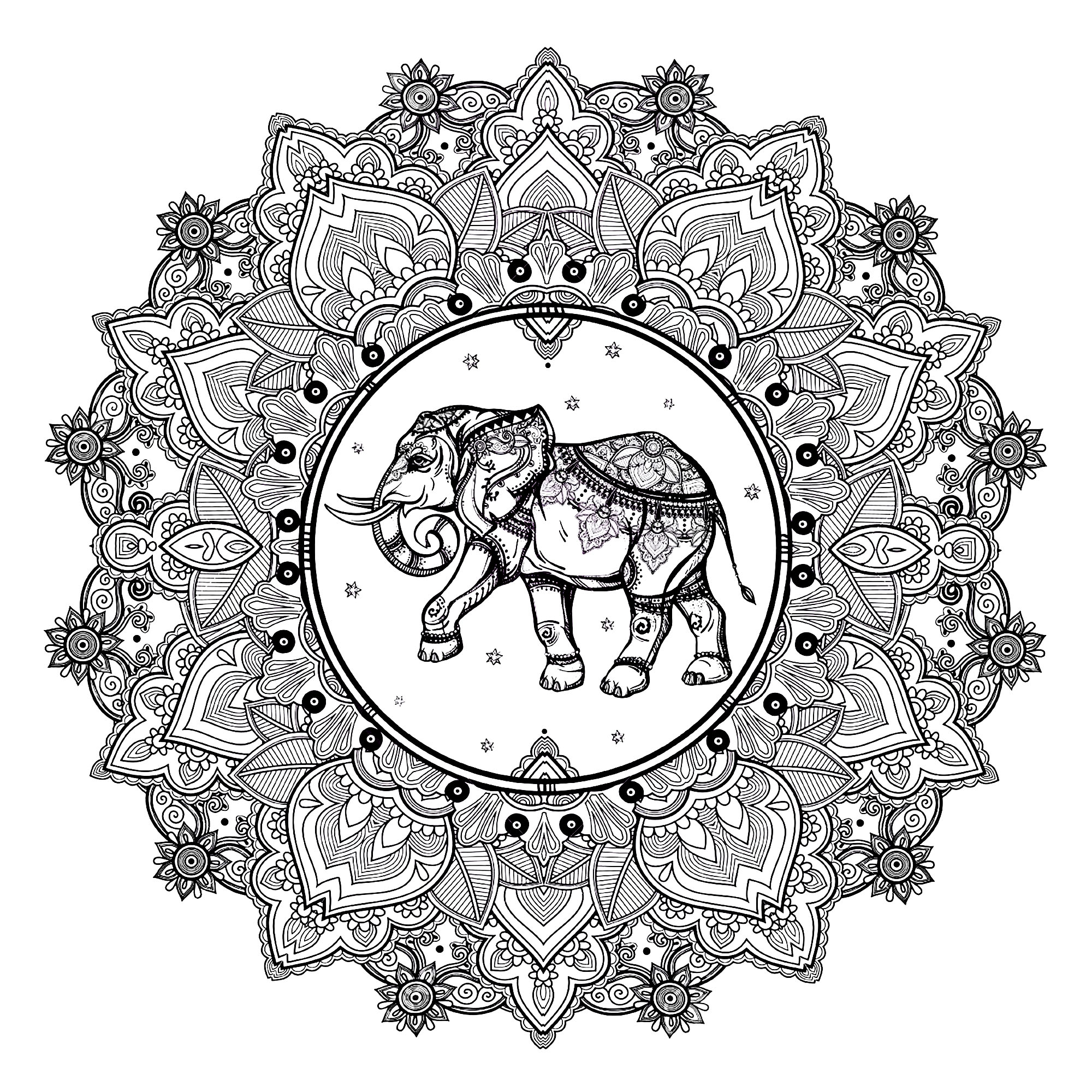 Mandala Elephant 123rf Mandalas Coloring Pages for Adults Printable ...