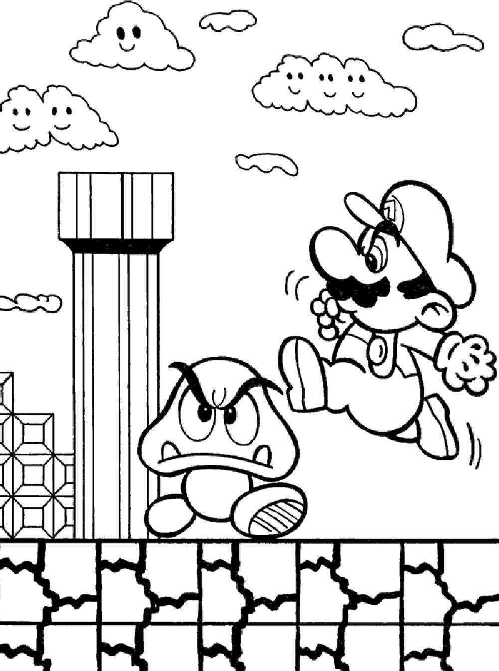 Mario Bros Coloring Pages Printable Portugu S Pinterest Printable Of Toad Mario Drawing at Getdrawings Gallery