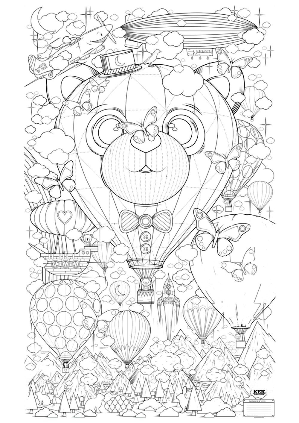 Printable Printable Hot Air Balloon Coloring Pages for Kids Free Printable Of Hot Air Balloon Coloring Page Collection