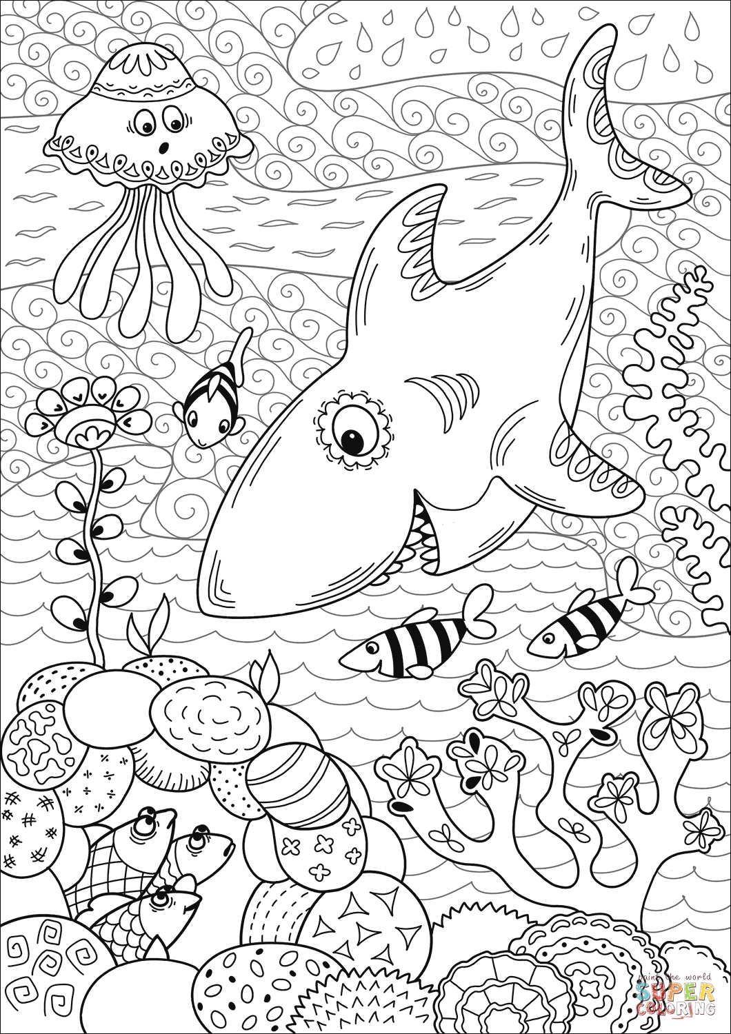 Printable Shark Hunting In Coral Reef Coloring Page Free Book To Print Of Pages