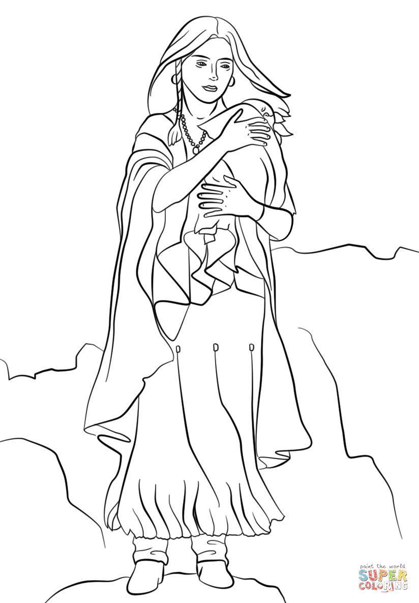 Sacagawea Coloring Page Printable Of Sacajawea Coloring Pages Hellokids to Print