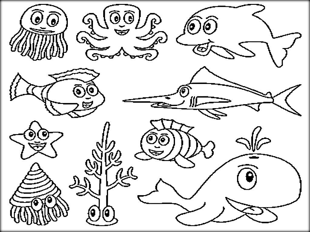 Sea World Coloring Pages Collection 5p - Save it to your computer