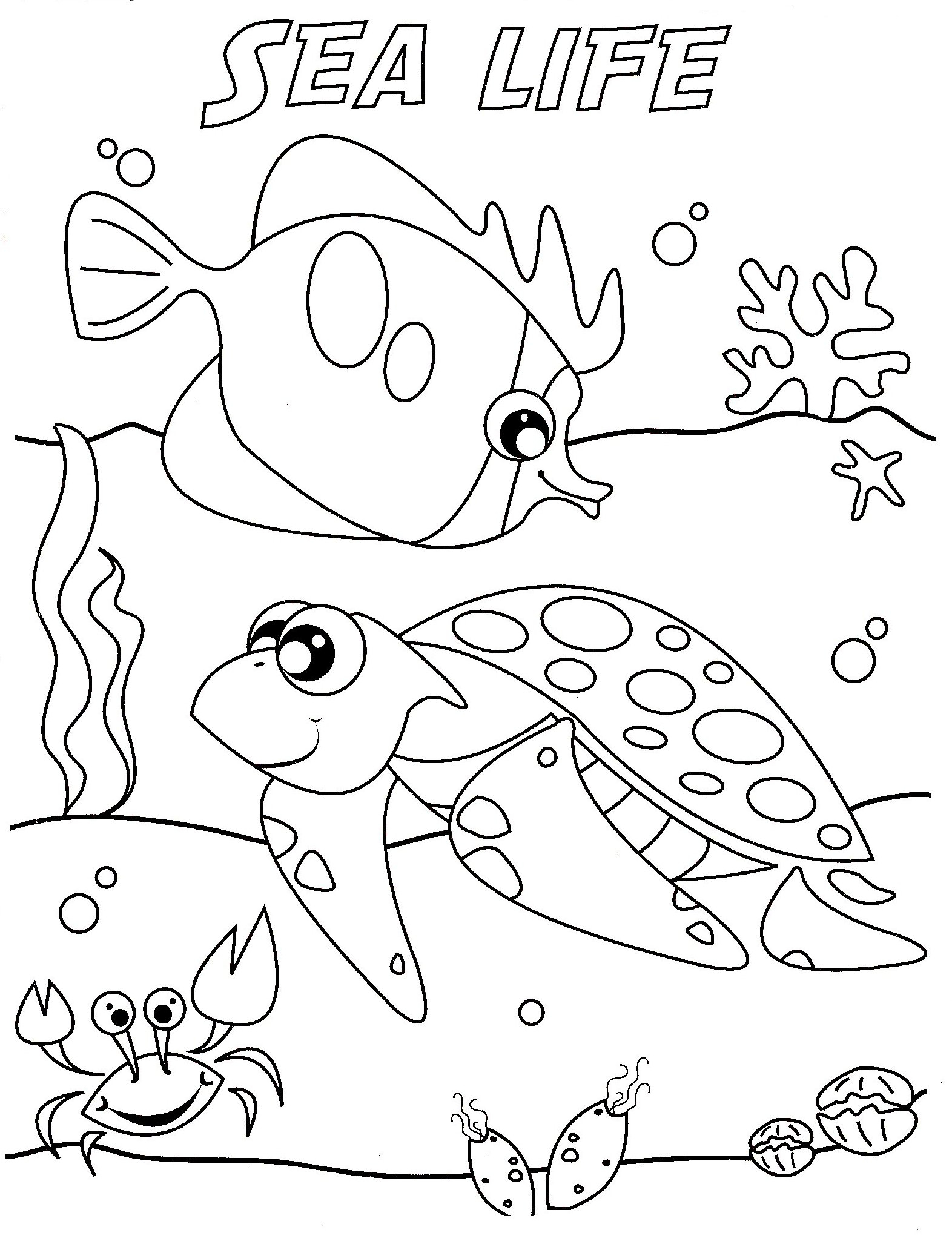 Sea World Coloring Pages Collection 14d - Free For Children