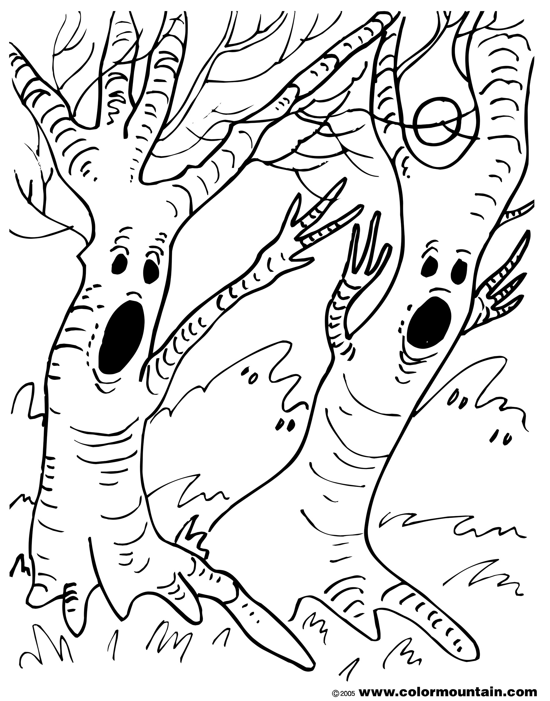 Spooky Tree Coloring Page Create A Printout Activity Download Of Noted Coloring Picture A Tree Pages Unknown Resolutions Printable