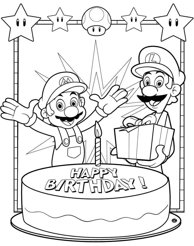 Super Mario Bros Happy Birthday Coloring Page Printable Download Of Super Mario Bros Coloring Pages to Print