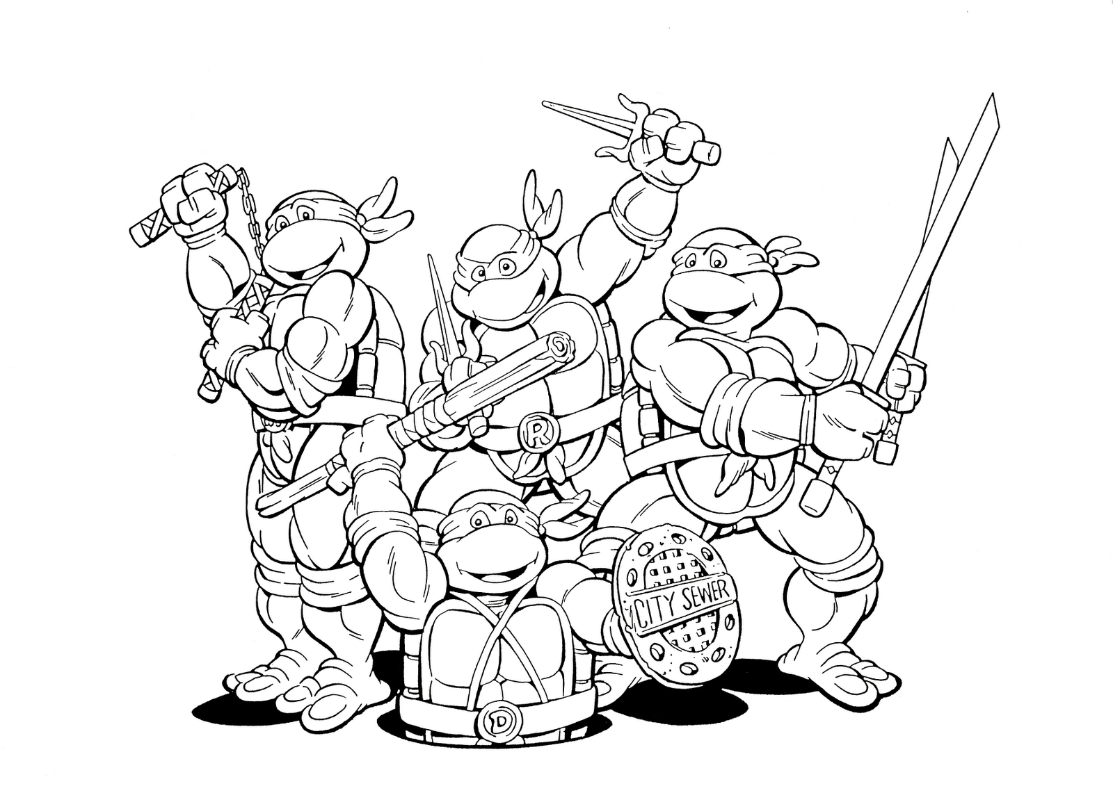 Teenage Ninja Turtle Coloring Pages Download 14c - Free For kids
