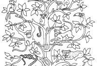 Tree Coloring Pages - Tree Bird butterflies Snake Monkey butterflies & Insects Adult Printable