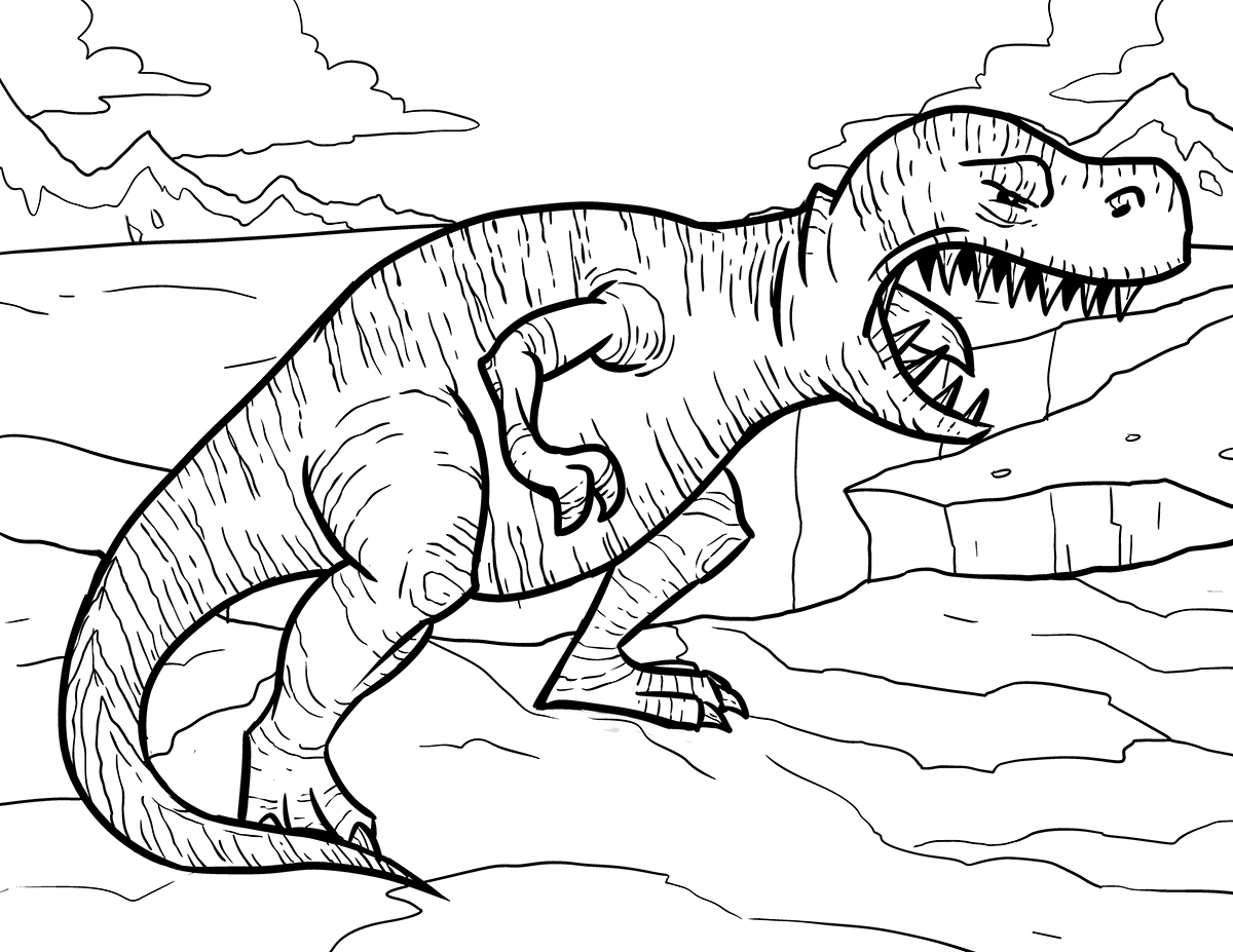 Tyrannosaurus Rex Coloring Pages Collection Of Dinosaur Clipart Coloring Page Triceratop Pencil and In Color Gallery