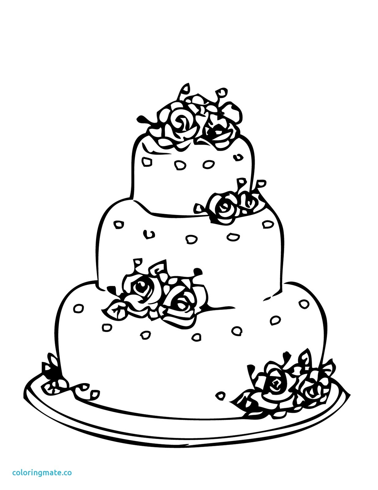Wedding Coloring Pages Free New the Wedding Cakes Coloring Sheet to ...
